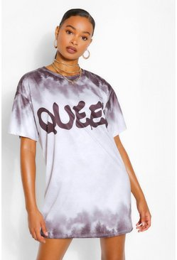 Black Tie Dye Queen Slogan Oversized T Shirt Dress