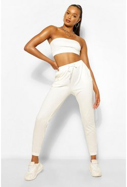 Ecru white Bandeau and Jogger Set