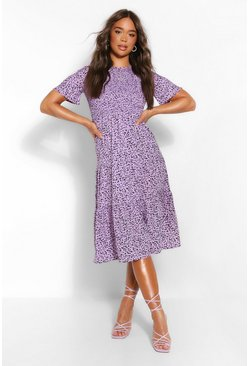 Lilac Printed Short Sleeve Midi Dress