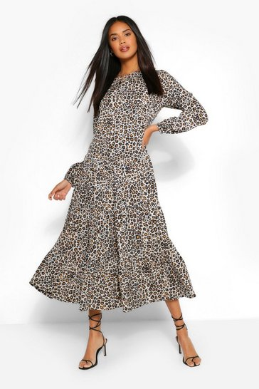 Natural beige Woven Leopard Extreme Tiered Smock Dress
