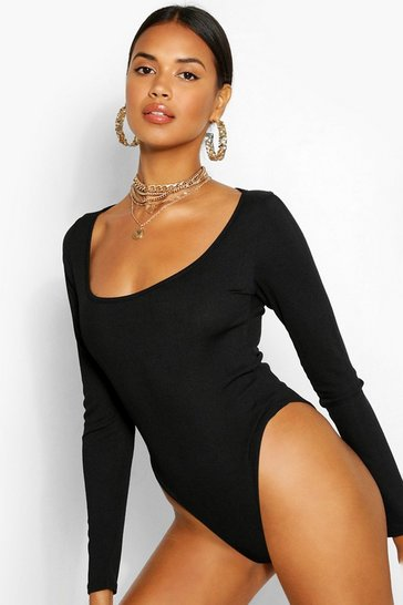 Black Extreme Scoop Long Sleeve Rib Bodysuit