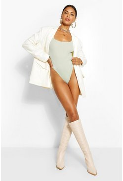 Sage green Extreme Scoop Long Sleeve Rib Bodysuit