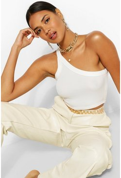 White One Shoulder Rib Top