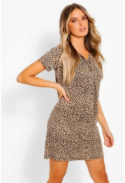 Brown Leopard Print Lace Up T-Shirt Dress