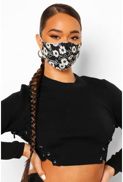 Black Daisy Fashion Face Mask