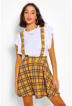 Mustard Checked Pinafore Flippy Skirt