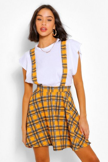 Mustard yellow Checked Pinafore Flippy Skirt