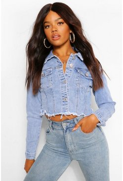 Blue Denim Frayed Hem Crop Denim Jacket