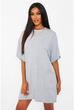 Grey marl grey Pocket Detail Oversized T-Shirt Dress