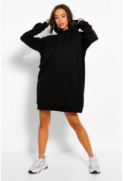 Black Shoulder Pad Oversized Sweater Dress