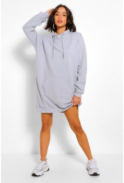 Grey marl grey Shoulder Pad Oversized Sweater Dress