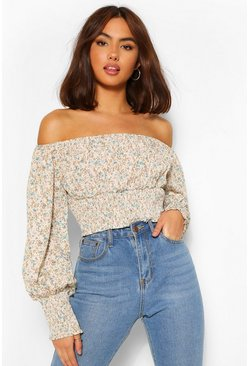 Stone beige Woven floral off the shoulder top