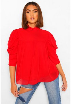 Red Woven Smock Top