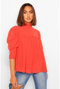 Terracotta Woven Smock Top
