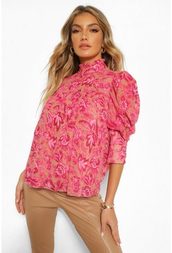 Stone beige Woven floral smock top