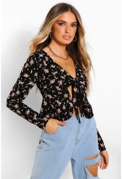 Black DITSY FLORAL TIE FRONT LONG SLEEVE TOP