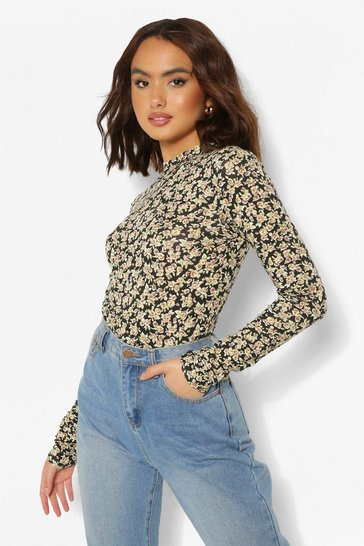 Black DITSY FLORAL HIGH NECK LONG SLEEVE TOP