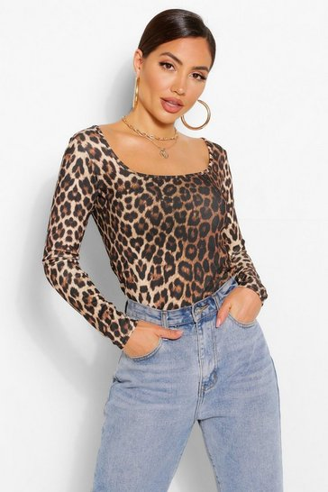 Natural beige Leopard Square Neck Long Sleeve Top
