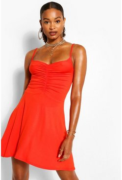 Jersey Ruched Front Strappy Skater Dress, Orange