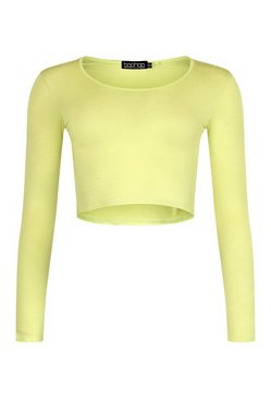 Lime Basic Long Sleeve Crop Top