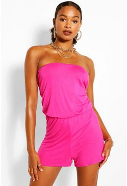 Hot pink Jersey Bandeau Basic Playsuit