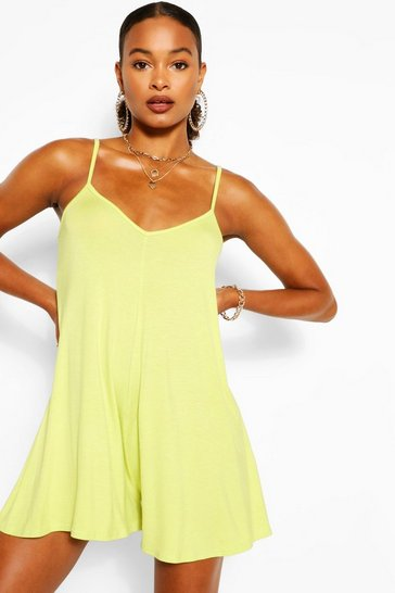 Lime Basic Strappy Swing Playsuit