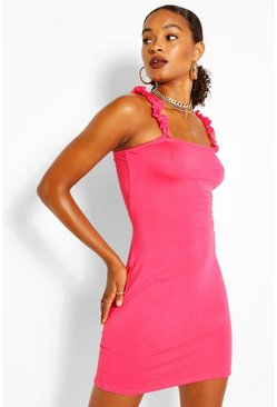 Bright pink pink Ruffle Strappy Jersey Basic Sundress