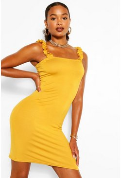 Mustard Ruffle Strappy Jersey Basic Sundress
