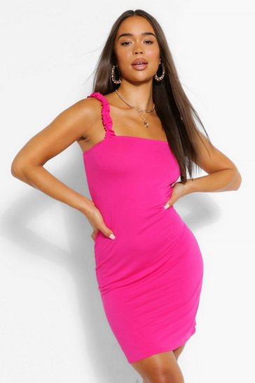 Hot pink pink Ruffle Strappy Jersey Basic Sundress