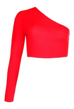 Red One Shoulder Rib Basic Crop Top