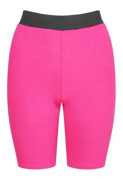 Hot pink Elasticated High Waist Cycling Short