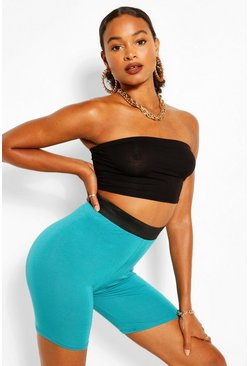 Turquoise Elasticated High Waist Cycling Short