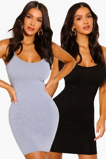Black 2 Pack Mini Bodycon Dress