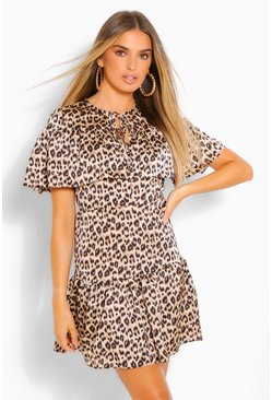Brown Leopard Cape Detail Skater Dress