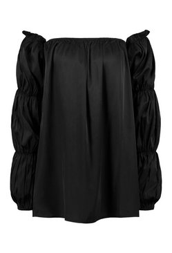 Black Satin Puff Sleeve Smock Dress