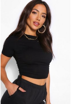 Black Crew Neck Ruched Side T-Shirt