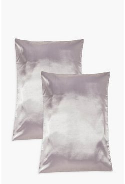 Grey 2 Pack Satin Hair Protect Pillowcase