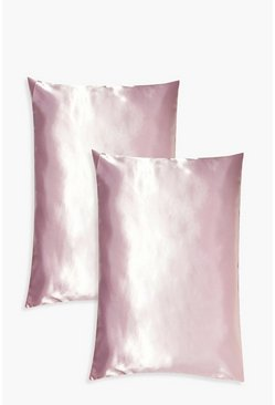 Pink 2 Pack Satin Hair Protect Pillowcase