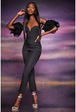 Black Off The Shoulder Organza Ruched Sleeve Jumpsuit
