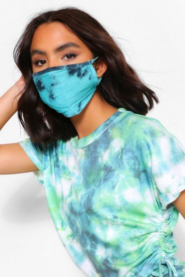 Turquoise Tie Dye Fashion Face Mask