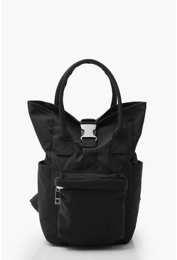 Mini Back Pack With Buckle Detail, Black