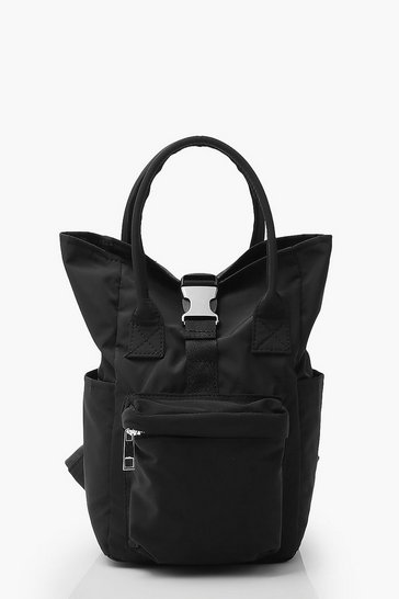 Black Mini Back Pack With Buckle Detail