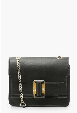Black Crossbody Bag With Tort Buckle