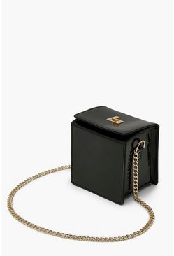 Black Top Locked Box Cross Body Bag