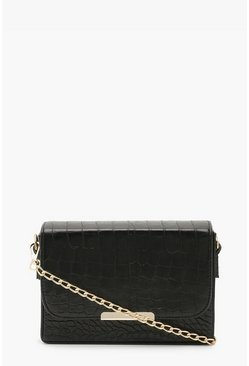 Black Croc Chained Crossbody Bag
