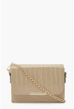 Cream Croc Chained Crossbody Bag