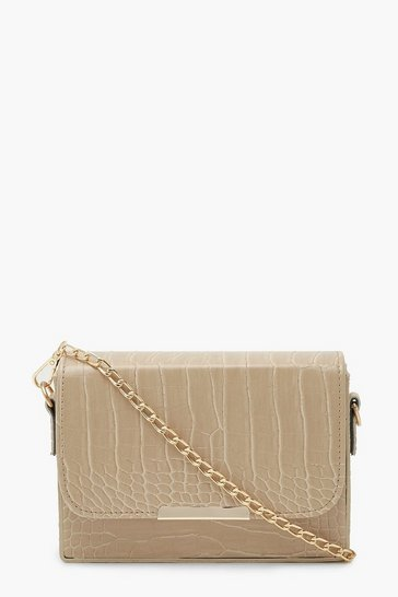 Cream white Croc Chained Crossbody Bag