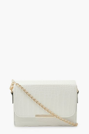White Croc Chained Crossbody Bag