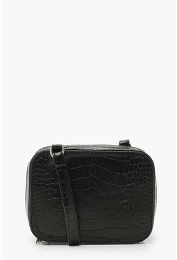 Black Croc Box Cross Body Bag