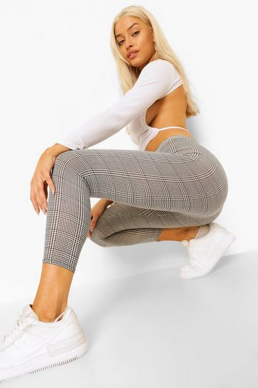 Black Dogtooth Check Leggings